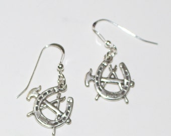 Sterling Silver FARRIER, BLACKSMITH Earrings - French Earwires - Horse, Equestrian