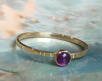 Amethyst ring, February birthstone ring, Gold ring, brass ring, stacking ring, custom ring, dainty ring, gemstone ring - Easy Lover R2503