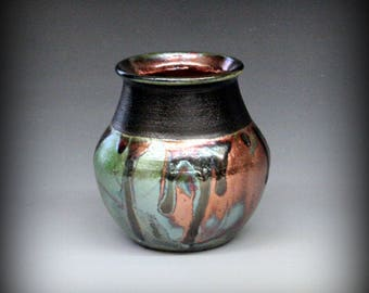 Raku Pot in Metallic and Iridescent Colors