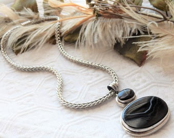 One of a Kind Sterling Silver Banded Agate Magnetic Clasp Necklace