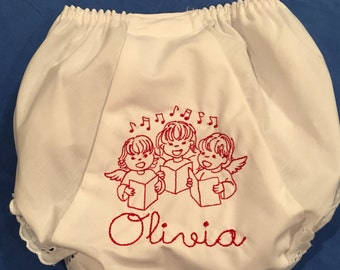 Embroidered Personalized Christmas Bloomers Diaper Cover Monogrammed Name