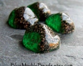 Reserved for El, Aventurine Glass, Foil Art Glass, High Domed, Green Glass, Mountain Top, Rare Cabochon, Flat Back, 4 Cabochons