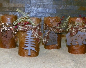 Pillar LED Candles, 6 Inch, a Primitive Textured PILLAR Candles, Battery Operated, Your Choice Bear, Heart, Log Cabin or Tree