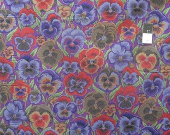 20% OFF SALE Philip Jacobs PWPJ076 Pansies Purple Cotton Fabric By The Yard