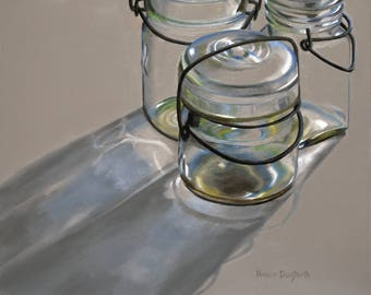 SALE! Canning Jars 8x10 original oil painting realistic still life by Nance Danforth