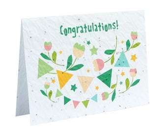 Seeded paper greeting card - Congratulations!