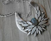 The Morrigan Bird Goddess Sterling Silver Labradorite Necklace