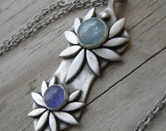Boudica's Rebellion Sterling Silver Warrior Goddess Pendant XXIV Kyanite Tanzanite Necklace
