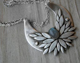The Morrigan Bird Goddess Sterling Silver Labradorite Necklace