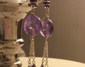Amethyst and crystal drops