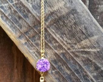 Beautiful Druzy Geode Agate Long Spike Necklace, Purple Frost