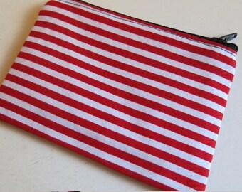 Red stripe coin purse - horizontal stripe