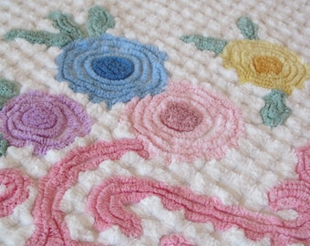 Vintage Chenille Bedspread Plush Pink Purple Blue Yellow Floral Full Queen 92 x 106 Shabby Cottage