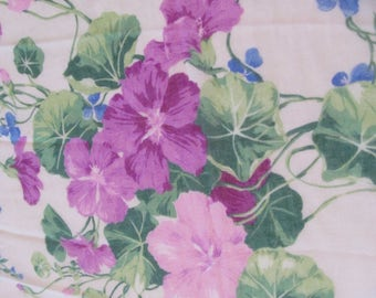 Cotton Lawn Fabric 7+ yds. Curtains Drapes Pink Lavender Geraniums Blue Violets by Concord USA Shabby Cottage