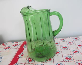 Vintage Green Depression Glass Pitcher - 1930's Shabby Farmhouse Cottage Kitchen