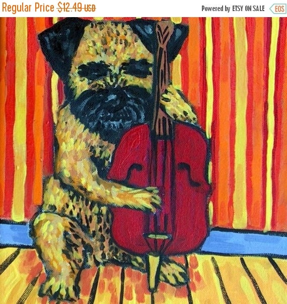 on sale border terrier playing stand up bass dog by schmetzpetz. Black Bedroom Furniture Sets. Home Design Ideas
