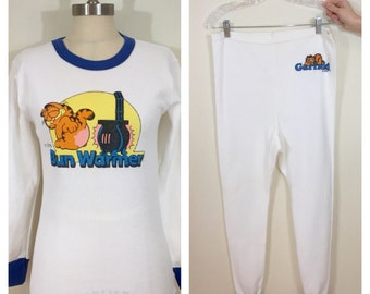 70s 80s 1978 Garfield Bun Warmer Thermal Long Johns Top and Pants Set, Size Small to Medium