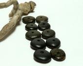 Black Beach Stones FLINTSTONE WHEELS Center Drilled Jewelry Pebbles Beads Black Wheels Cairn Donuts diy Spacers Rocks