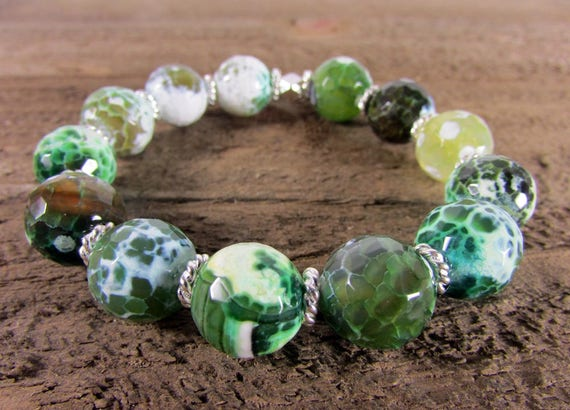 RESERVED for Catsaviour32,  Green Agate Stretch Bracelet