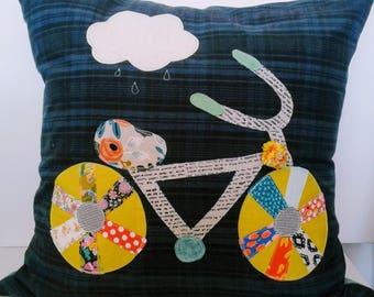 plaid bicycle applique pillows