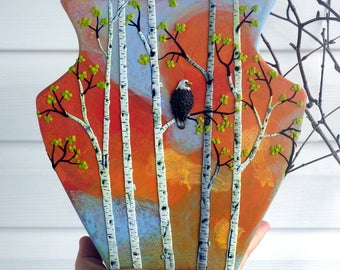 Eagle Amongst the Birch Trees Sculpted with Polymer Clay onto a Recycled Glass Vase in Autumn Colors