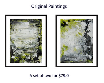 Diptych art green black white Set of two original abstract landscape painting on paper wall art wall decor home decor by qiqigallery