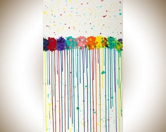 """Large abstract painting Rainbow colour art Original artwork painting on canvas Wall art wall decor """"Color of love"""" by qiqigallery"""