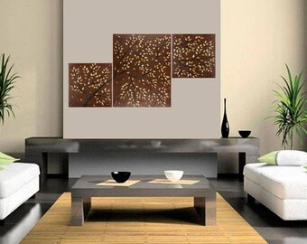 "Wall art Earth tone matalic bronze painting wall decor acrylic landscape painting home decor canvas art ""Autumn Breeze"" by QIQIGALLER"