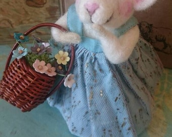 Olivia Mouse picking up flowers at the market needle felted mouse sculpture