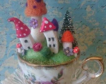 Miniature teacup fairy house village