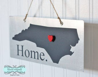 North Carolina Home Sign Magnet board with Chalkboard State and Red Heart Magnet