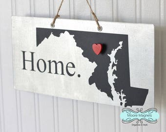 Maryland State Silhouette Home Sign Magnet board with Chalkboard State and Red Heart Magnet