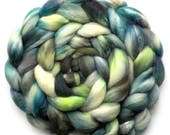Silk and Polwarth Roving (40/60) Handdyed - Early Spring, 5.2 oz.