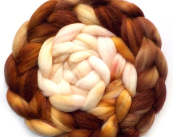 Merino, Alpaca, Nylon and Silk Handdyed Roving - Tiramisu, 5.2 oz.