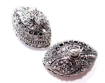 50% Off Bead Caps, 2pcs Antique Silver Large Oval Filigree Tassel Caps Cone Bead Caps 19x28x18mm, Loops: 2mm, BC1062 J16