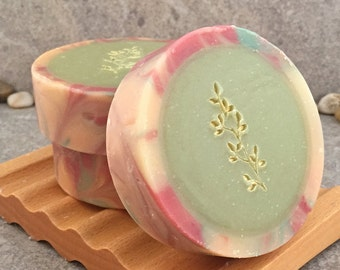 Cranberry Green Tea Scented Cold Process Artisan Rimmed Soap