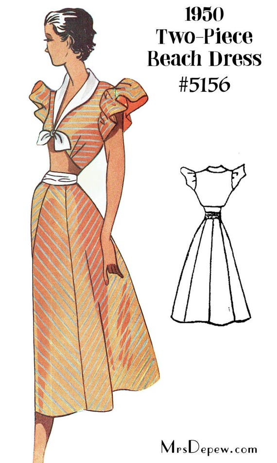 1950s Sewing Patterns | Swing and Wiggle Dresses, Skirts 1950s Two Piece Midriff Beach Dress Depew 5156 in Any Size - PLUS Size Included  -INSTANT DOWNLOAD-  AT vintagedancer.com