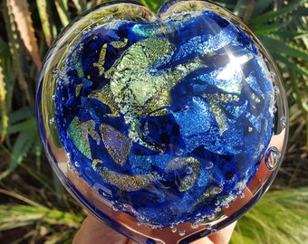 Glass Paperweight Heart - Hand Blown - Free Shipping Dichroic Glass [stock#  ]
