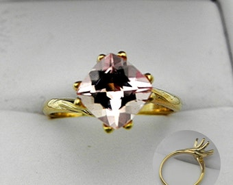 AAA Pink Morganite Cushion Cut 14K yellow gold Solitaire Ring 8x8mm 2.10 Carats Engagement ring. 3617