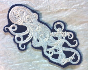 Gothic Baroque Octopus & Anchor - Embroidered Iron on Applique - Patch - 3 Sizes Available - FREE U.S. Shipping