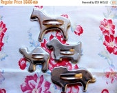 Winter Sale - Vintage Mid Century Aluminum Animal Cookie Cutters (4), Horse, Lion, Scottie Dog and Camel