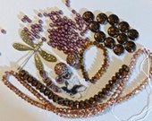 Mix of Assorted Vintage and New Beads to Play With - Copper, Bronze, Metalllics OOAK  (P)