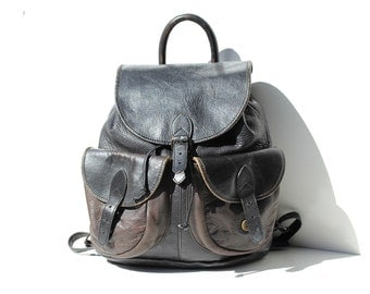 Vintage Black Leather Backpack Bag