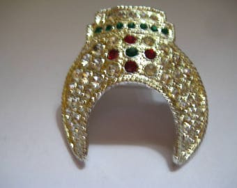 Chinese Ceremonial Hat Pin? with Pave Set Rhinestones in Red Green and Crystal