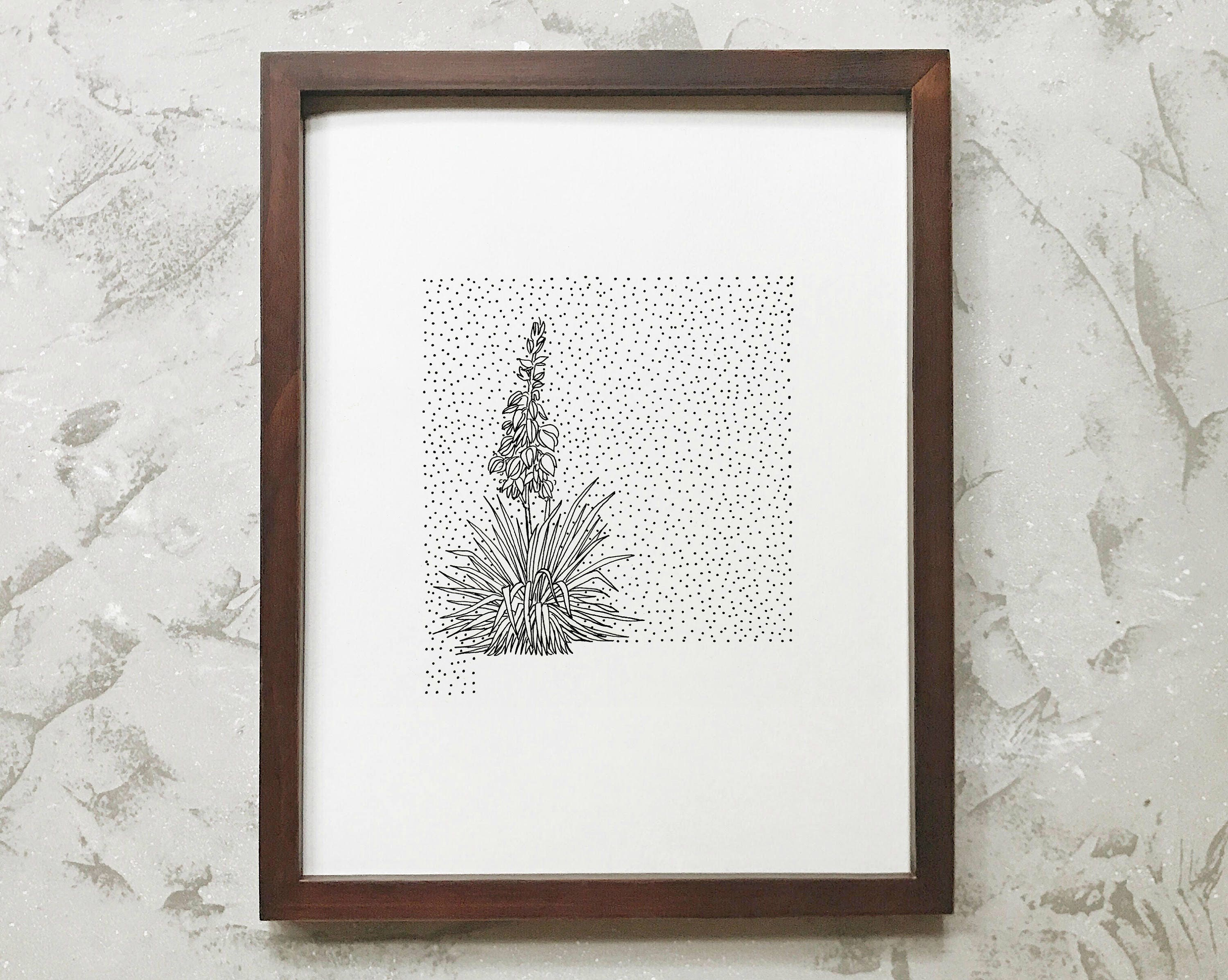 New Mexico Yucca State Flower Drawing Giclee Print