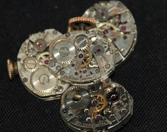 Vintage Antique small Watch Movements Steampunk Altered Art RE 86