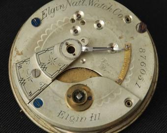 Gorgeous Vintage Antique Elgin Watch Pocket Watch Movement Steampunk Altered Art Assemblage Industrial LR 3
