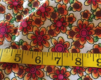 One Yard of Red and Orange Floral Fabric