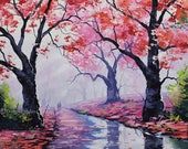 Pink trees, pink wall art, pink deco, tree prints, tree pictures,  from my Original Oil Painting