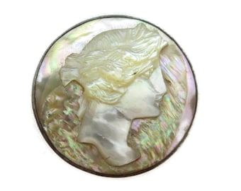Abalone Cameo Brooch - Cameo Jewelry, Edwardian, Sterling Silver, Carved Shell, Estate Jewelry